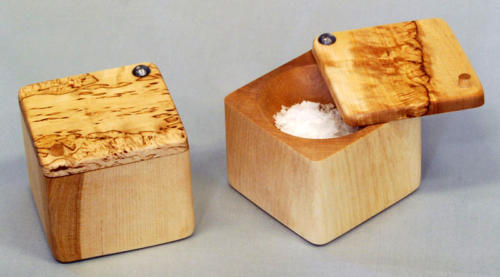 Salt cellar in birch