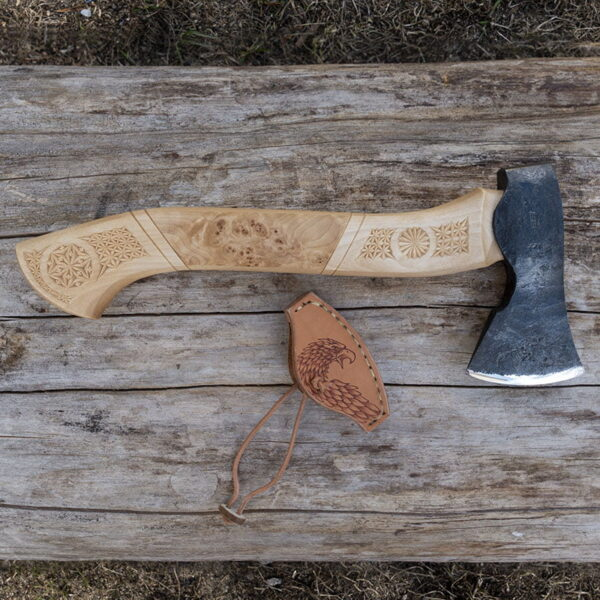 Hand forged ax with cut-out handle
