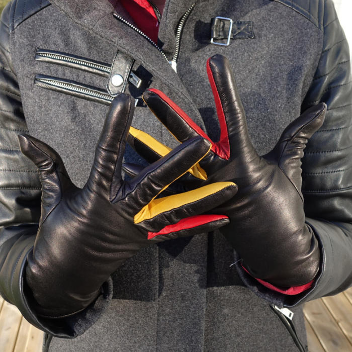 Colour-leather gloves