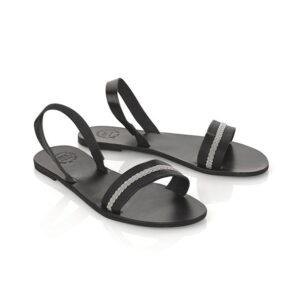 Ella sandal with pewter braid