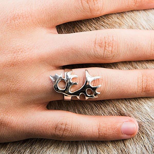Silver ring Reindeer Antler