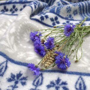 Wool felt cornflower in organic wool