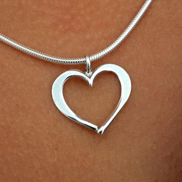 Hjärta silverhalsband