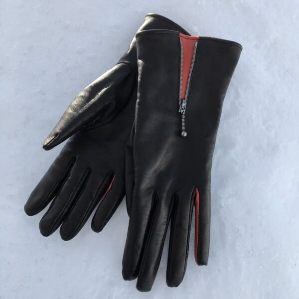 Leather glove with zipper, Women