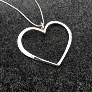 Silverhalsband hjärtlig XL