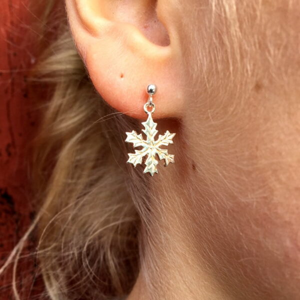 Snow star silver earrings