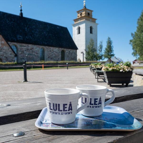 Luleå 400 år - Set med 2 st Luleåmuggar och Gammelstadsbricka